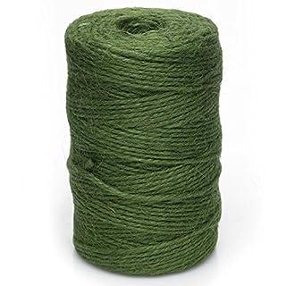 KRAFTZ® - 50M Jute Twine Rope 2mm String Cord Roll for Craft Scrapbooking Wedding Gift Wrap Gardening Deco0r DIY (Dark Green)