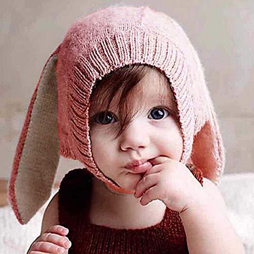 Ins Kinder Mütze mit Tier aus weicher, warmer Wolle, Hasenohren niedlich gestrickt, Herbst und Wintermütze, rosa