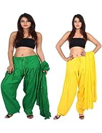 Teej New Combo Offer For Women's 2 Solid Cotton Black Blue Patiala With Dupatta Set - B071JBTP2W