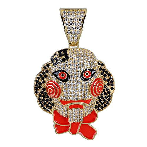Halskette Rapper 6ix9ine Chainsaw Fright Jigsaw Mask Doll Pendant Micro-Inlay with Zircon Pendant, Halloween Accessoires,Gold ()