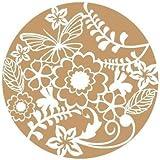 Stencil Deco Floral 023 Rueda de flores. Medidas aproximadas:Tamaño del stencil 20 x 20(cm) Tamaño de la figura 17 x 17(cm)