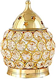 DXYZ Crystal and Brass Golden Traditional Handmade Decorative Tea Light Holder/Akhand Diya Lantern Votive for