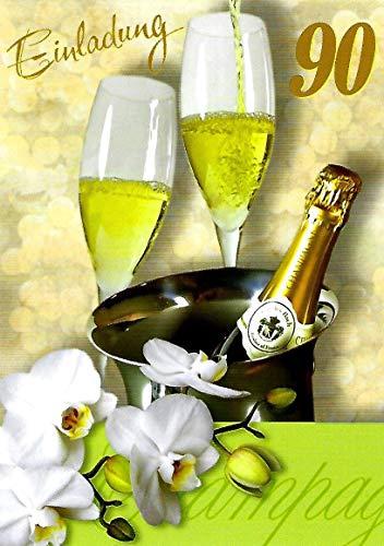 Einladungskarten 90. Geburtstag Frau Mann mit Innentext Motiv Sektgläser 10 Klappkarten DIN A6 im Hochformat mit weißen Umschlägen im Set Geburtstagskarten Einladung 90 Geburtstag Mann Frau K203