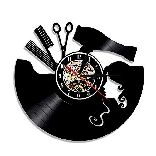 hrgang Vinyl Uhr Mauer Dekor Barbier Geschäft Friseur Beruf Handarbeit Modern Kunst Mauer Hobby Groß Geschenk ()