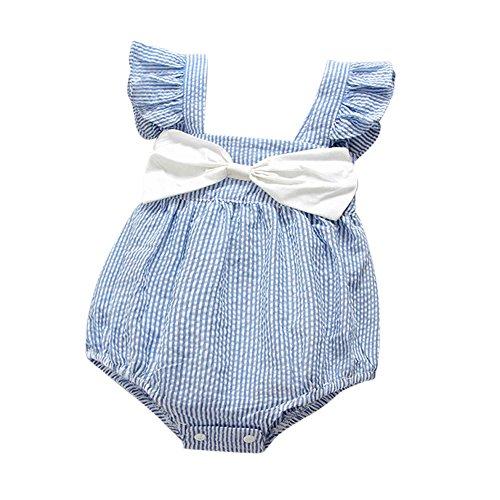 Yumimi88 Sleeveless Süß Gestreifte Bowknot Newborn Baby Girls Overall Strampler Outfits,Für Coolen Sommer (0-6 M, (Weihnachtliche Outfits)