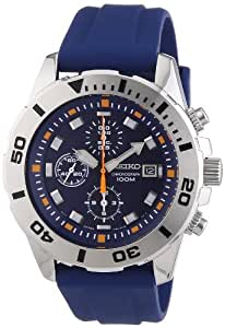 Seiko - SNDE03P1 - Montre Homme - Quartz Chronographe - Cadran Bleu - Bracelet Caoutchouc Bleu