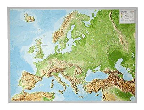 Preisvergleich Produktbild Reliefkarte Europa Gross 1 : 8.000.000 mit Aluminium Rahmen