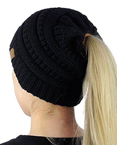 Damen Mädchen Gestrickt Hut ,Pferdeschwanz Winter Herbst Mütze Strick Frauen,Warme Gestrickt Damenmütze mit Zöpfen Loch-Schwarz Warmen Zopf-hüte Für Frauen