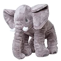teprovo XXL Elephant Cuddly Animal Toy Fall Asleep Baby Pillow Infant Plush Elephant Stuffed Fabric 68 cm Large Grey Sgs Tested