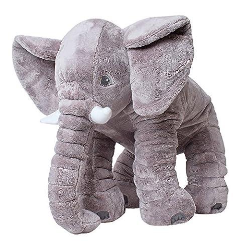TE-Trend Elefant Kuscheltier zum Einschlafen Baby Kleinkind Plüschelefant aus flauschigem Plüsch 68 cm grau