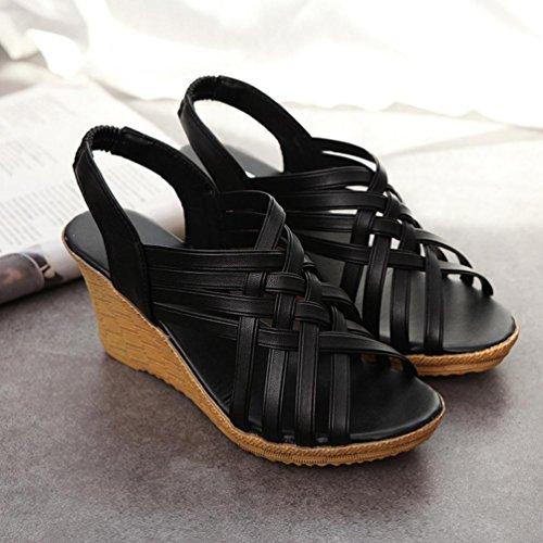 Bescita Frau hohe Plattformen Cut Outs Muster karierter Gürtel Gladiator Sandale Schuhe Schwarz