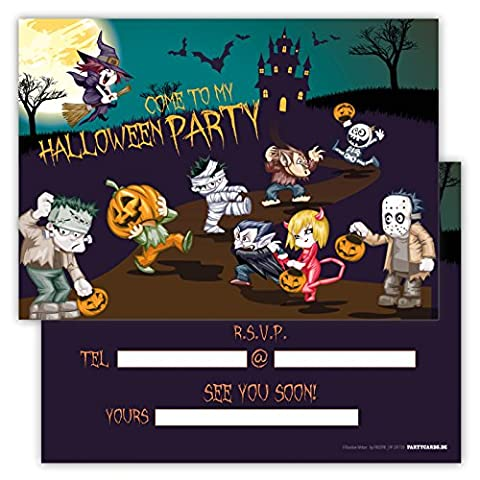 Spooky Halloween Party Invitations Pack of 12 Cards for Boys Girls Kids Birthday Character Emoji Postcard Invitations Greetings fill-in