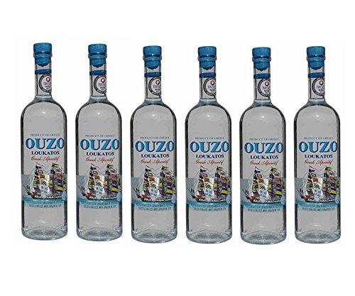 6x feiner Ouzo Loukatos je 700ml 38% Vol. aus Griechenland - griechischer Destillat Likör Tresterbrand Trester Uso Anis Schnaps Patras + 2x Probiersachets Frappe oder Olivenöl