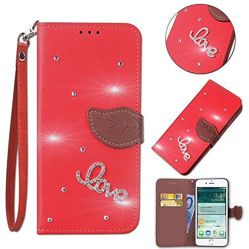 Casefirst Sony Xperia XA1 Ultra Wallet Case, Stylish Slim PU Leather Skins Stand and Card Holders Wallet Phone Cover Protection Protective Case for Sony Xperia XA1 Ultra -Red -