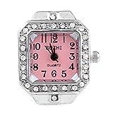 Ecloud Shop Anillo Reloj Metal Circonita Cuadrado Blanco Elastico Moda 20 mm