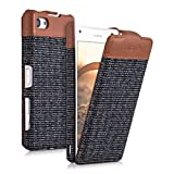 kalibri Flip Case Hülle Emma für Sony Xperia Z5 Compact - Aufklappbare Stoff und Echtleder Schutzhülle Tasche im Flip Cover Style in Braun Anthrazit
