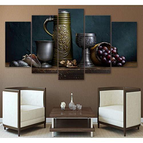 YHEGV Impresiones en Lienzo Lienzo Pintura Póster Cuadro de Pared para Sala de Estar 5 Paneles La Vieja lámpara está en ThImágenes modulares de la decoración casera de la Tabla de e