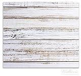Wallario Herdabdeckplatte/Spritzschutz aus Glas, 1-teilig, 60x52cm, für Ceran- und Induktionsherde, Helle Holzstruktur - Muster - Alter Dielenfußboden