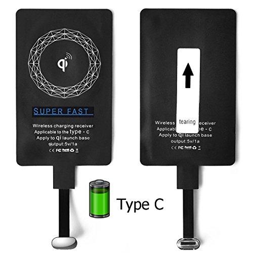 Alimao® Type c Empfänger, USB-C Qi Wireless Ladegerät Empfänger für LG G5, V20, Pixel 5 '', Nexus 5X, 6P, HTC 10, OP3, OP2, Huawei P9 (Typ-C, Receiver )