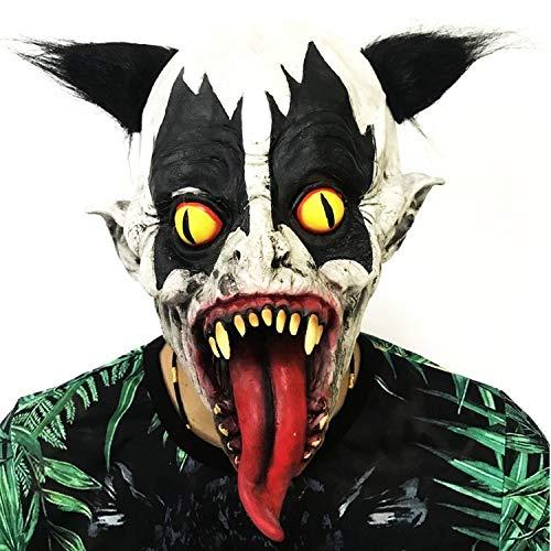 ZX Maske Halloween Dress Up Umweltfreundlich Latex Variation Gelbe Augen Lange Zunge Clown Terroristen Kopfbedeckungen,weiß Rot,MJ