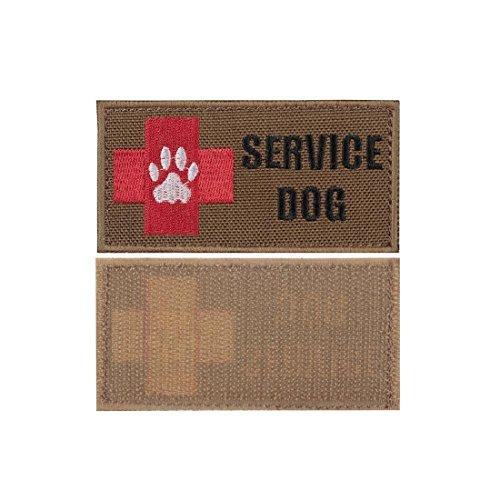 Passen Zwei Stück Anzug (Yisibo Medic Patch 2 Stück bestickt Taktische medizinische Erste Hilfe Rote Kreuz Klett Moral Patches (Rechteck, SERVICE DOG-Coyote Braun))