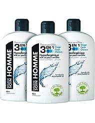 L'arbre vert Gel/Shampooing Douche Homme pour Peau Sensible 3 en 1 Visage/Corps/Cheveux 400 ml - Lot de 3