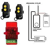 Kit apriporta automatico telecomandato per elettroserratura con 2 radiocomandi - cancellino serratura elettrica a 12-24Vca - si collega direttamente al pulsante di apertura senza necessità di alimentazione