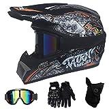 HGOOD-KK Casque de Moto pour Enfant Motocross Cross Off-Road Noir Mat ATV Quad...