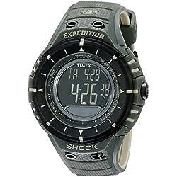 Timex Men's T49612 Green Resin Quartz Watch with Digital Dial