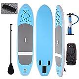 Profun Tabla Hinchable Paddle Surf Tabla de Surf SUP Set Stand Up Paddle Surf Board de 3M con Paddle Ajustable+Bomba de Aire+Remo+Mochila (Tipo2 Azul)
