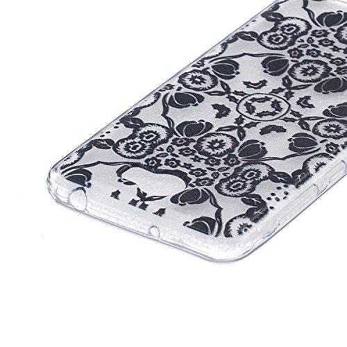Ukayfe Custodia per Huawei Y5 II,Ultra Slim TPU Gel Gomma Silicone Copertura Case per Huawei Y5 II,Moda Serie Pattern Back Cover Crystal Skin Custodia Stilosa custodia di design Protettiva Shell Case  Fiori Neri