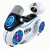 Toyshine Gizmo Kids Battery Bike Scooter with LED Lights, Rechargeable - White