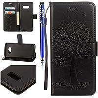 EUWLY Lederhülle Samsung Galaxy S7 Flip Wallet Brieftasche Hülle Leder Bookstyle Handyhülle Tasche Handytasche Magnetverschluss Hülle Ledertasche Klapphülle Kartenfächer,Eule Baum schwarz