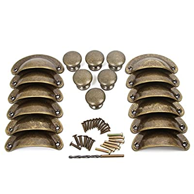 Ginsco 18pcs Vintage Bronze Kitchen Cupboard Door Cabinet Drawer Shell Pull Handle Round Knob Set with 4mm Drill Bit - cheap UK light shop.