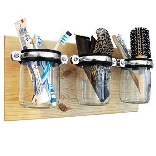 ultiMade Badregal Wandregal aus Kiefer geölt 40x20x1,8cm mit Gläsern zur Aufbewahrung von Hygiene- und Badartikeln Wandboard Badezimmerregal Wandhalter Hängeregal inklusive Befestigungsmaterial