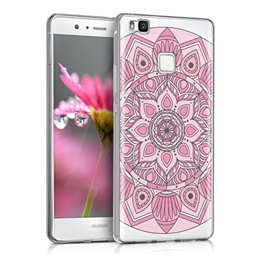 kwmobile Hülle für Huawei P9 Lite - TPU Silikon Backcover Case Handy Schutzhülle - Cover klar Ethno Blume Design Pink Rosa Transparent