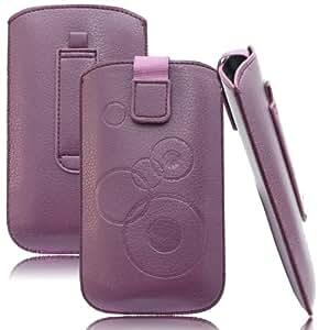 Slim Case Lila für Samsung SM-G350 Galaxy Core Plus Tasche Ledertasche Handytasche Leder Kunstleder Schutz Hülle Schutzhülle Gürteltasche Schlaufe Gürtelschlaufe Seitentasche Etui Holster