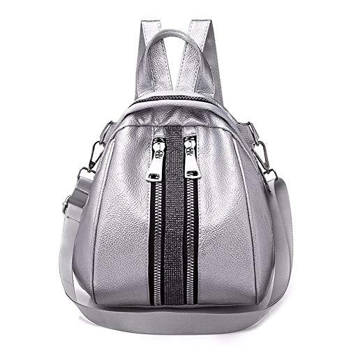WanJiaMen'Shop College Soft-Leder Rucksack Persönlichkeit multifunktionale Umhängetasche, 28x23x15cm, Silber