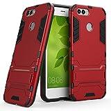 Handyhülle Huawei nova 2 Hülle Schale Tasche, Ougger Schutz Schön Stoßdämpfung [Kickstand] Leicht Armor Hülle Schutz Schönhülle Cover Hart PC + Soft TPU Gummi Haut (Rot)