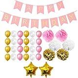 Dekorationen-Set - Pom-Poms, Happy Birthday Banner, Latexballons & Folienballons von Belle Vous - für Geburtstag, Kinder-Partys, Baby-Partys, Abschlussfeiern und Hochzeitsfeiern - Großpackung Dekorationen Zubehör für Mädchen, Jungen & Erwachsene