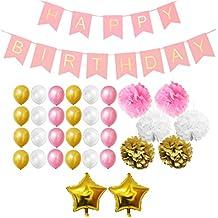 Set Decoraciones Fiesta 33 Piezas Doradas, Blancas y Rosa por Belle Vous - Pompones, Globos de Látex y de Papel de Aluminio y Pancartas para Celebraciones de Cumpleaños y Fiestas - Kit Lote Decoraciones para Chicas, Chicos y Adultos