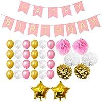 Belle Vous 33 Pezzi Decorazioni Feste Compleanno Oro, Bianco e Rosa  Buon compleanno! E' il momento di pianificare la grande festa! Il nostro set oro, bianco e rosa è ideale per qualsiasi festa di compleanno e si adatta a qualsiasi tema. Cos...
