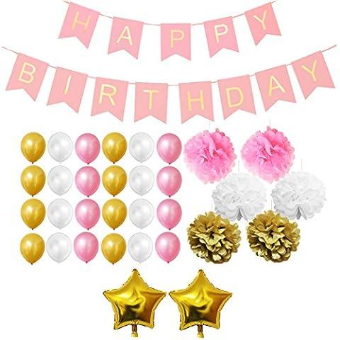 Ensemble 33 Pièces Décorations de Fêtes Dorées, Blanches et Roses par Belle Vous - Pompons, Ballons Aluminium et Latex, Bannière pour les Fêtes d'Anniversaire - Gros Kit de Décorations pour les Filles, les Garçons et les Adultes