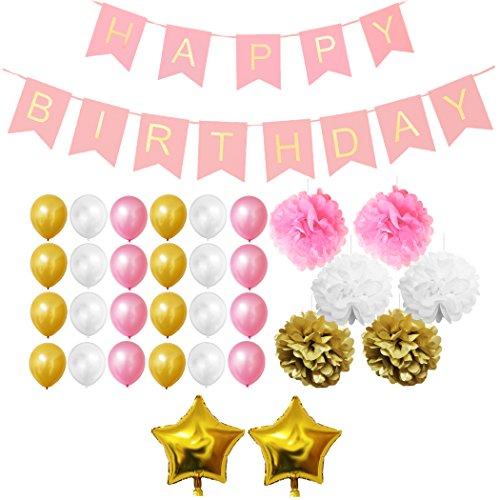 -Set - Gold, Rosa und Weiß - Pom-Poms, Happy Birthday Banner, Latexballons & Folienballons von Belle Vous - für Geburtstag, Kinder-Partys, Baby-Partys, Abschlussfeiern und Hochzeitsfeiern - Großpackung Dekorationen Zubehör für Mädchen, Jungen & Erwachsene (Gold-und Rosa-party)