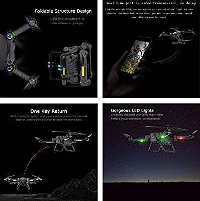 YMXLJJ RC Drone Wifi FPV 0.3MP Real-Time Transmission Helicopter 2.4Ghz 6 Axis Gyroscope Foldable Quadcopter Height Retention/Third Gear Mode/Air Pressure Fixed Height Black