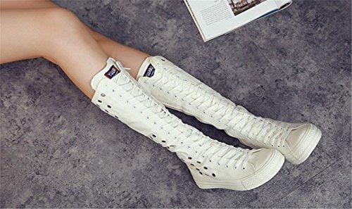 Wealsex Baskets Mode Montantes Au Genou Botte En Toile Avec Trous Lacets Fermeture éclair Classique Femme Blanc