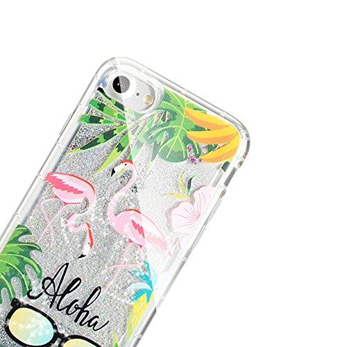 Sunroyal Liquide Crystal Case pour iPhone 5 / 5S (4,0 pouces) Souple TPU Silicone Coque,Bling Glitter Flux Transparent Etui Housse Sparkle Paillette Cristal soft Plastique Fluide Liquide Dur Plastic B Flamingo 02