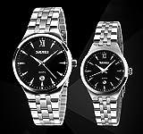 einzigartige Mode für Männer und schwarzes Zifferblatt Armbanduhren Frauen mit Datumkalender für Paar (2er-Set)