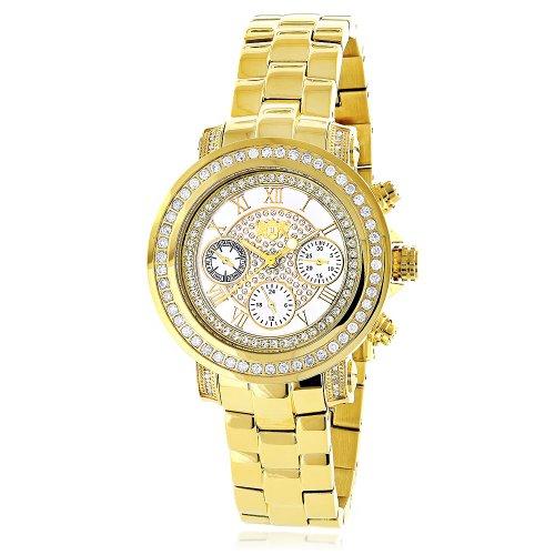 Para mujer diamond reloj chapado en oro amarillo LUXURMAN Montana blanco fregona 2ct
