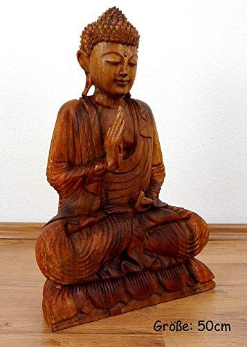 Ruheausstrahlender Buddha aus Holz, Skulptur, Buddhismus Statue, Dekofigur, Holzskulptur aus Bali (Handarbeit) (groß)